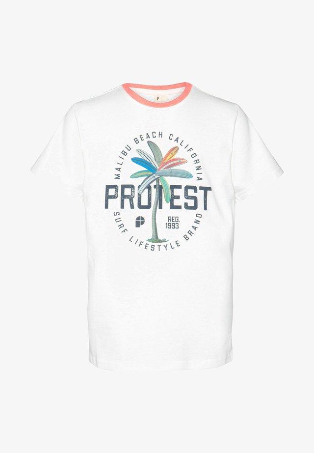 LINUS JR  - T-shirt print - off-white/dark blue/blue