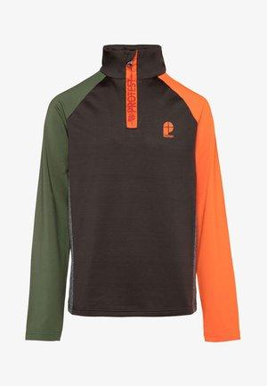 Fleece trui - dark green/mottled dark green/orange