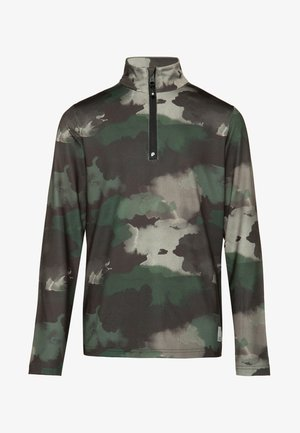 Long sleeved top - mottled dark green/black