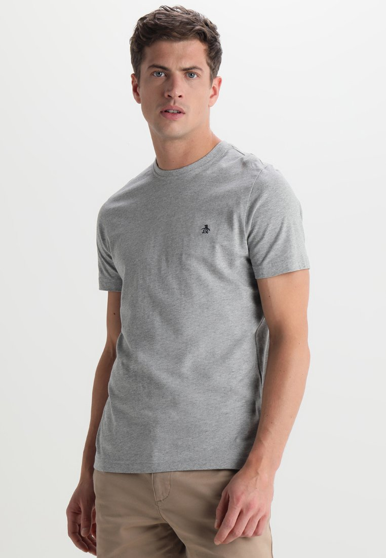 Original Penguin - EMBROIDRED LOGO TEE - T-shirts basic - rain heather