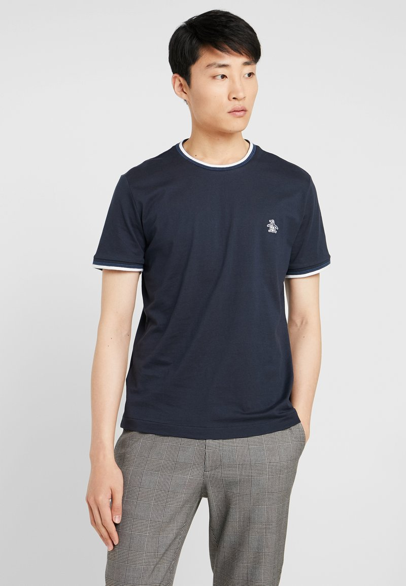 Original Penguin - STICKER PETE TIPPED TEE - Camiseta básica - dark sapphire