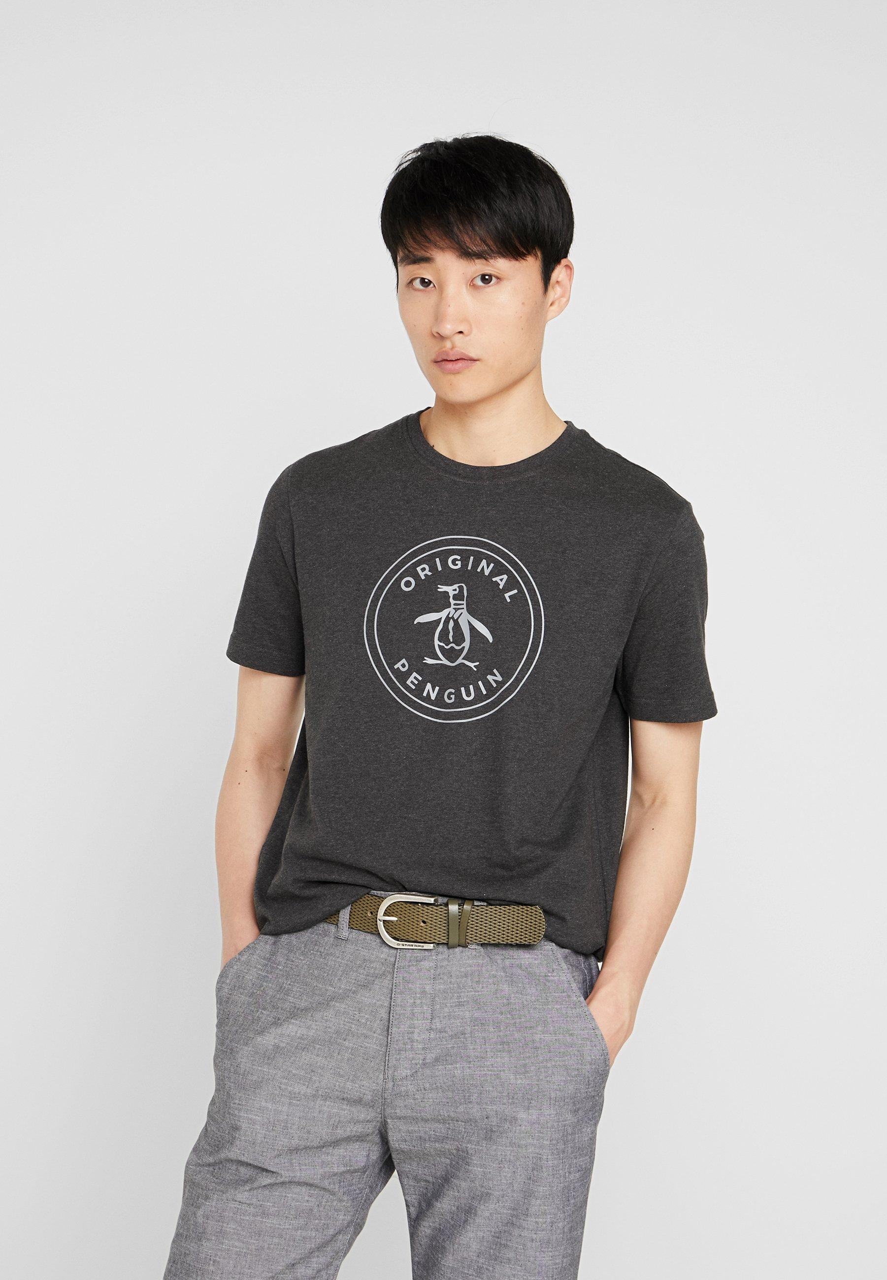 Original Penguin EMBROIDRED LOGO TEE - T-shirt z nadrukiem - dark charcoal