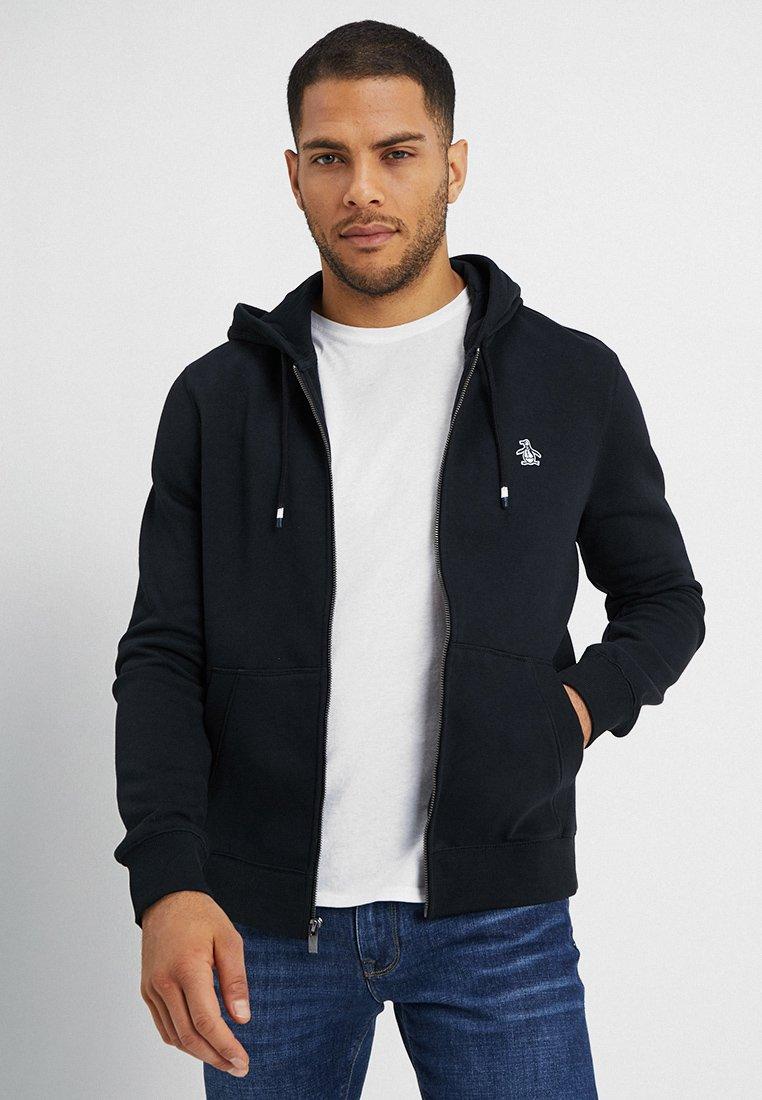 Original Penguin - ZIP THRU HOODED - veste en sweat zippée - true black