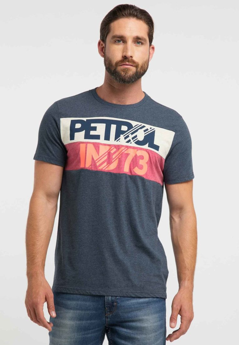 Petrol Navy ImpriméDeep Industries T shirt Fc1JK3Tl
