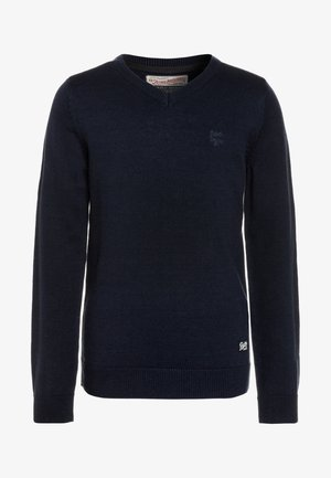 V NECK - Jumper - deep navy