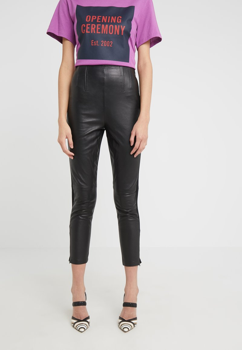 Pinko - MACINARE PANTALONE - Leather trousers - black
