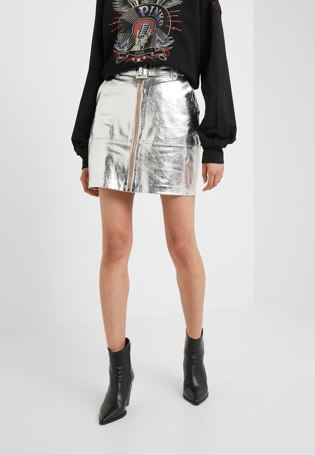 Leather skirt - argento-metallizzato