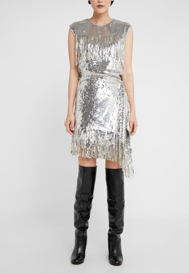 RATATOUILLE GONNA PAILLETTES - A-line skirt - argento metallizzato