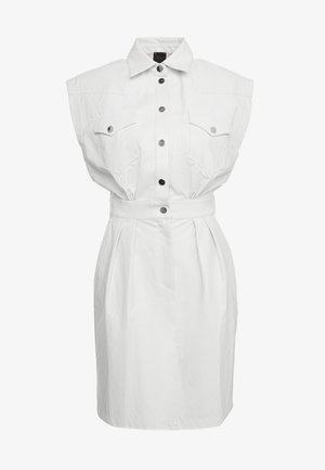 SAVARIN ABITO WASHED SIMILPELL - Shirt dress - bianco