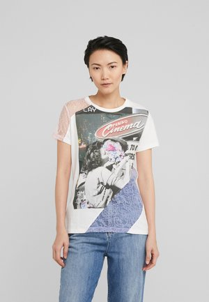 MILLEFOGLIE - Print T-shirt - multi bianco/nero/lilla