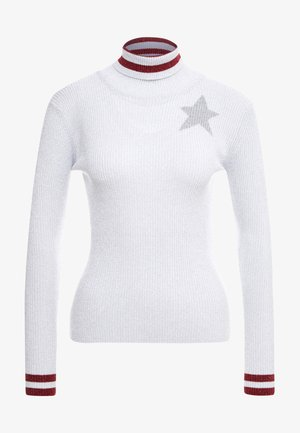 DINANZI MAGLIA COSTI - Pullover - bianco/agento rosso