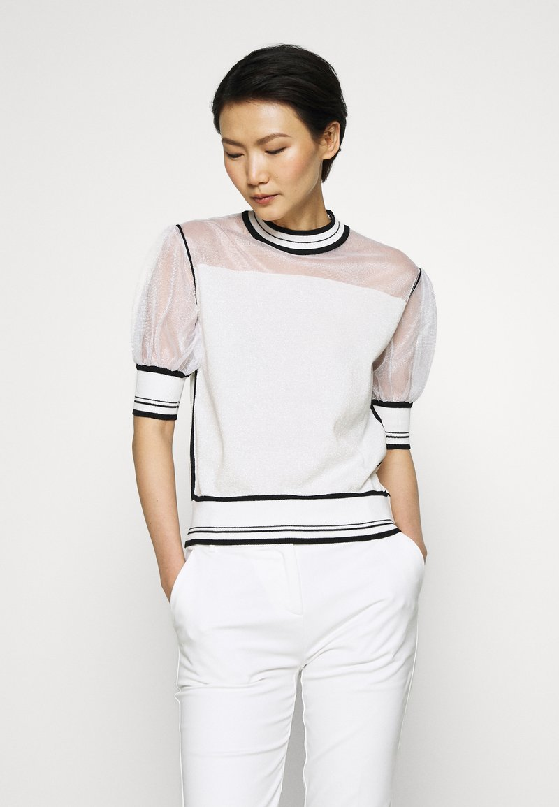Pinko - VERZELATA MAGLIA - T-shirts med print - bianco/nero