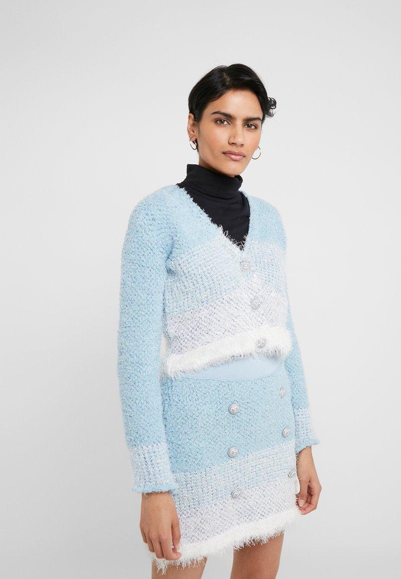 Pinko - AGONE CARDIGAN SPUGNA ARMATURA - Vest - bianco/azzurro/bluette