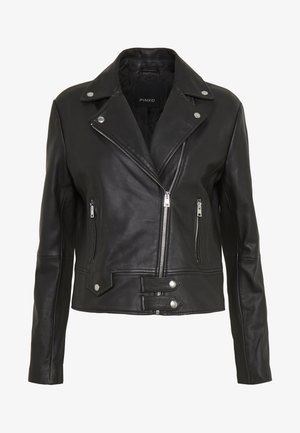 SENSIBILE CHIODO PELLE - Leather jacket - nero limousine