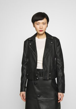 SENSIBILE CHIODO PELLE - Leather jacket - nero limousine