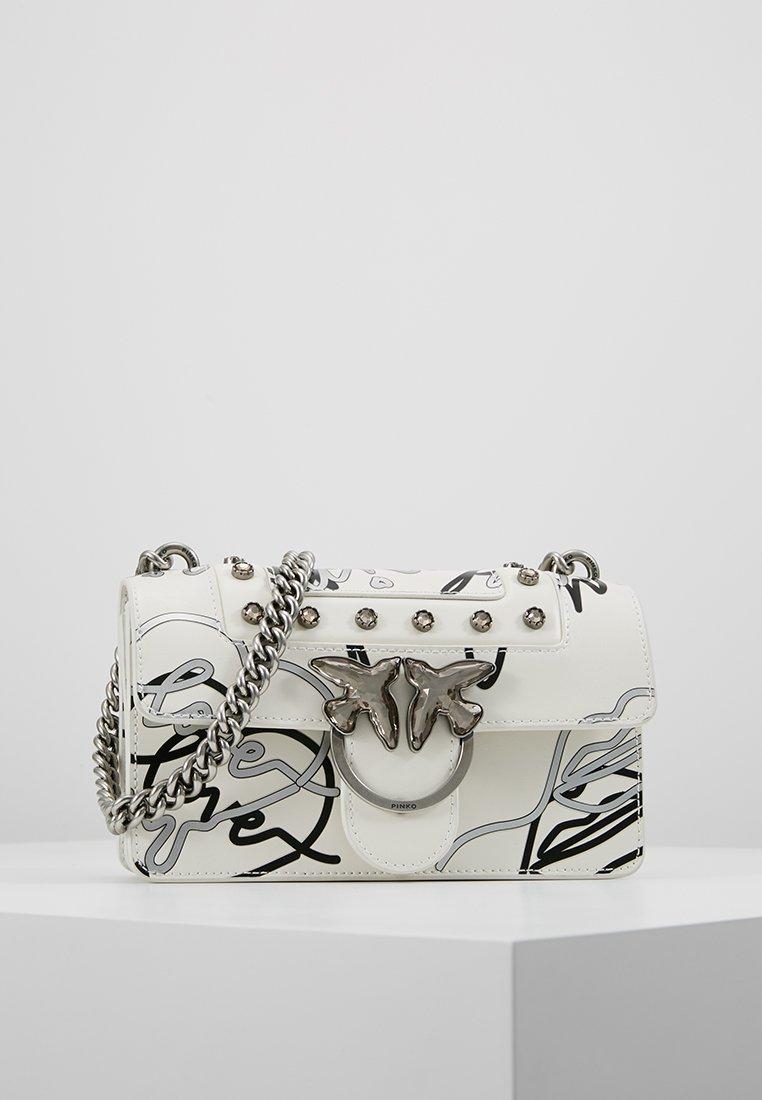 Pinko - MINI LOVE CATENA SPALLACCIO - Bandolera - white/silver-coloured/black