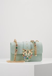Pinko - LOVE MINI JEWELS VITELLO SETA - Sac bandoulière - aqua green - 1