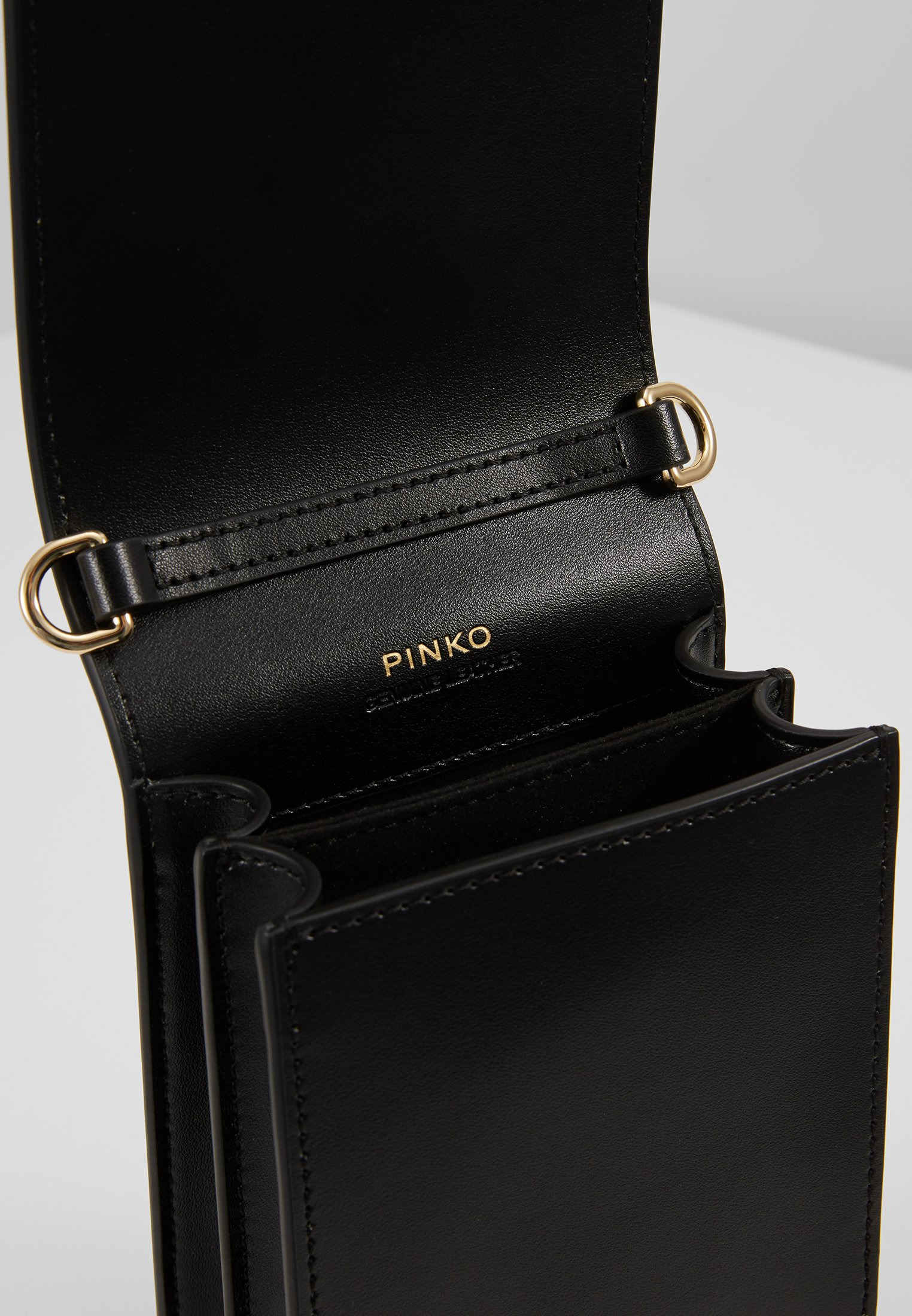 Pinko Love Smart Jewels C Vitello Seta - Torba Na Ramię Black