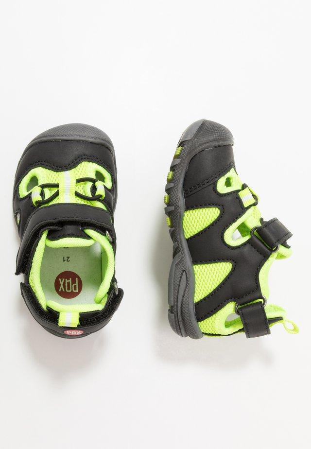 PEPPER - Walking sandals - black/lime
