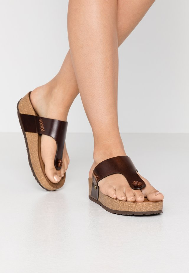 QUINOA CLAY - T-bar sandals - brown