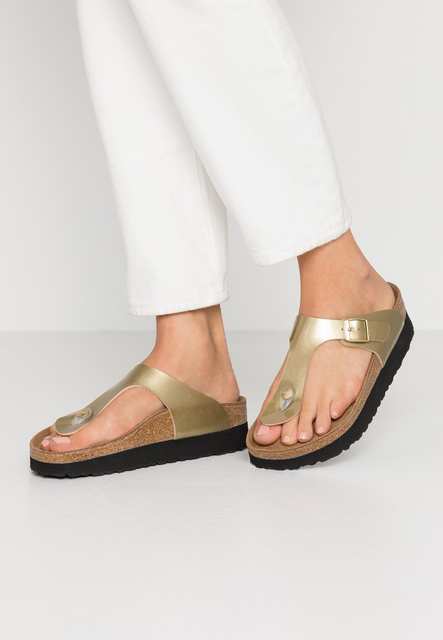 GIZEH - T-bar sandals - metallic gold