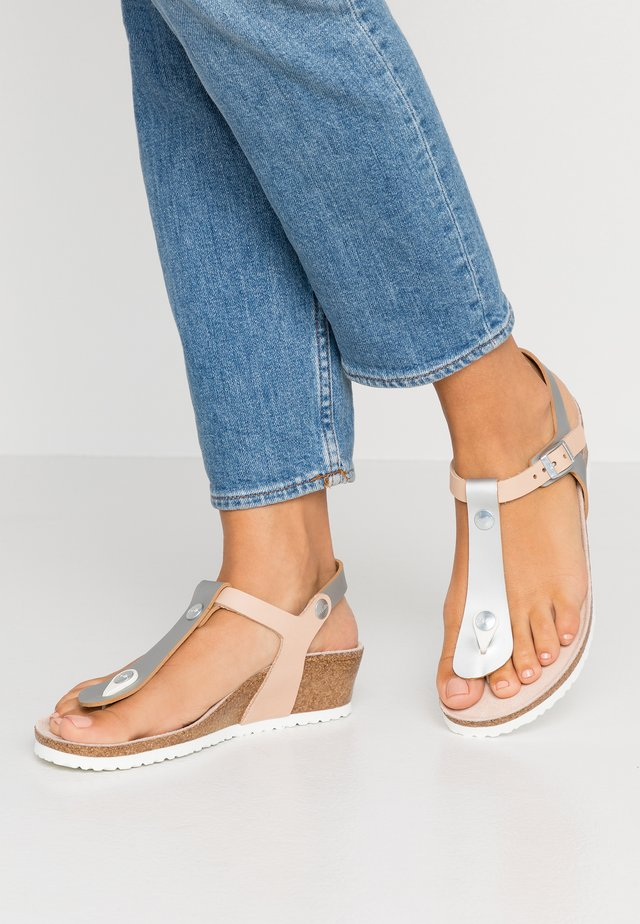 ASHLEY  - T-bar sandals - frosted metallic silver