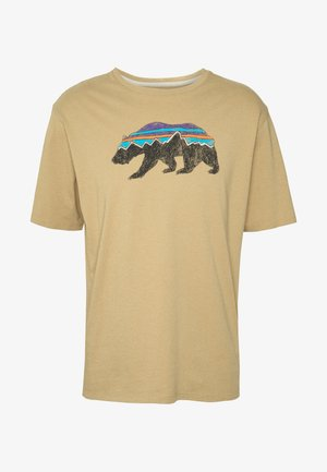 FITZ ROY BEAR ORGANIC - T-shirt imprimé - classic tan