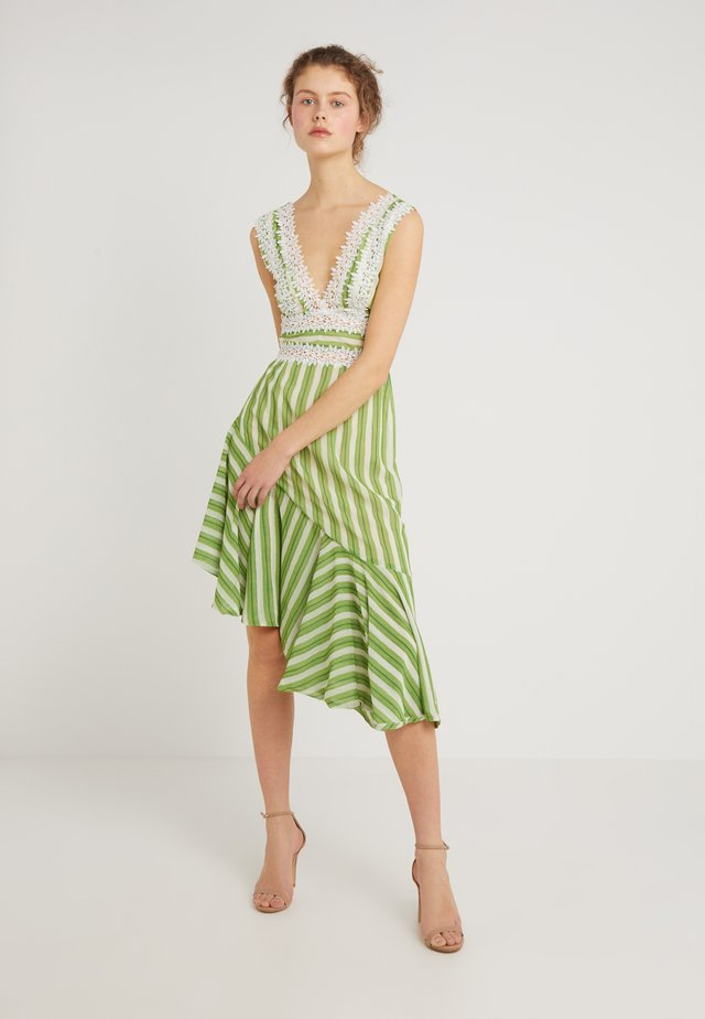 STRIPED TRIM MIDI DRESS - Vestito estivo - green/white