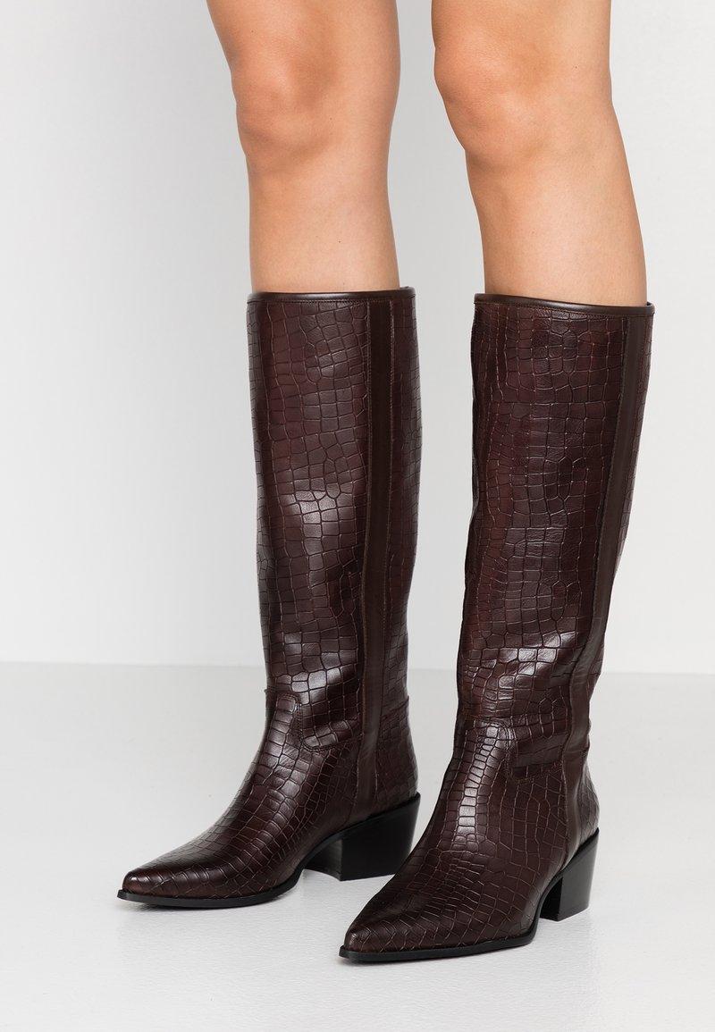 paolifirenze - Cowboy/Biker boots - cocco/testa di moro