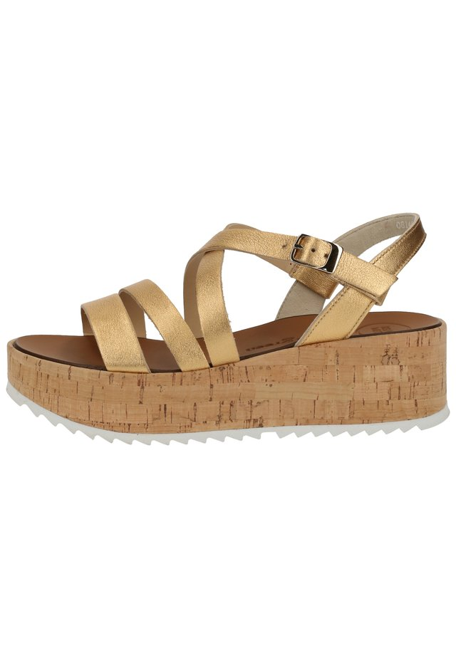 Sandały na platformie - gold metallic 076
