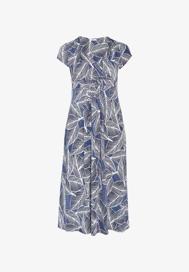 MIT BLATTMUSTER-RUBBERPRINT - Korte jurk - indigo