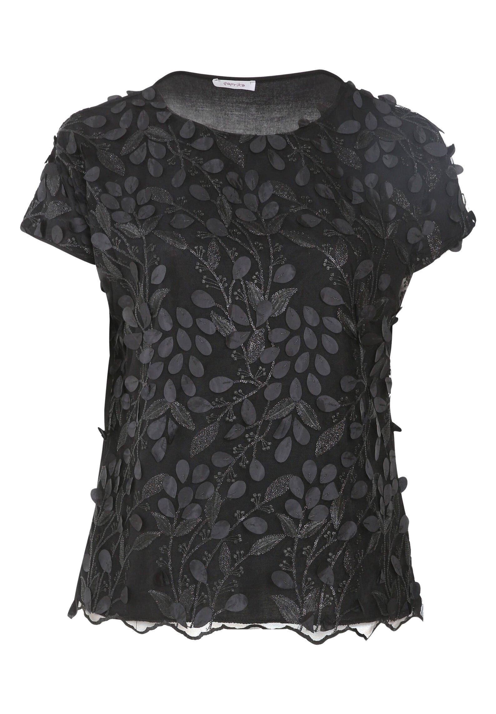 Paprika Mit Floralem Muster Und Pailletten - Blouse Black