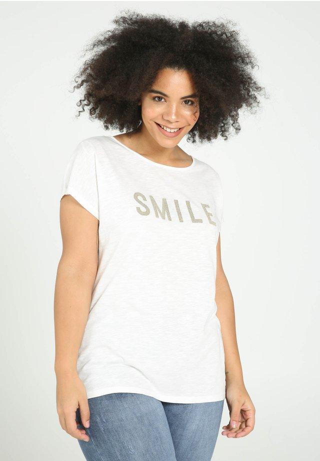 SMILE - T-shirt imprimé - beige