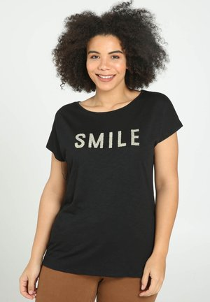 SMILE - T-shirt con stampa - black