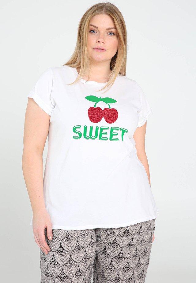 MIT KIRSCHENMOTIV - T-shirt imprimé - white