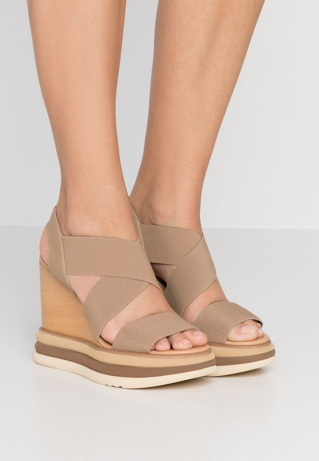 FILIPINAS ELASTIC MALLORCA - High heeled sandals - taupe
