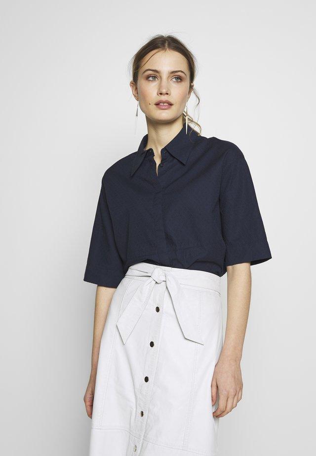 FRIEDI AJOUR - Button-down blouse - dark blue