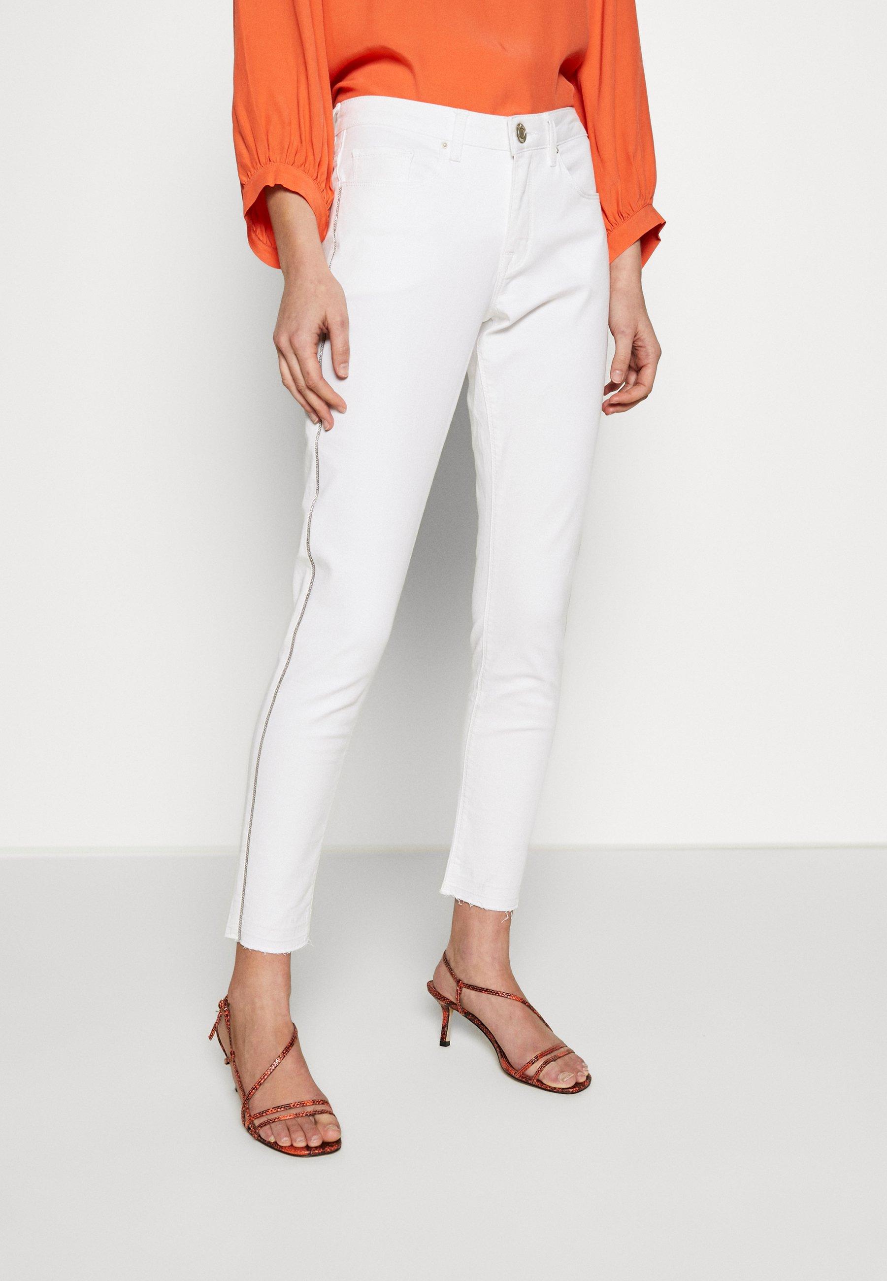 Opus ELMA 7/8 GLITTER - Jeansy Skinny Fit - white