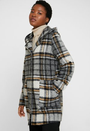 HANDA CHECK - Short coat - slate grey melange