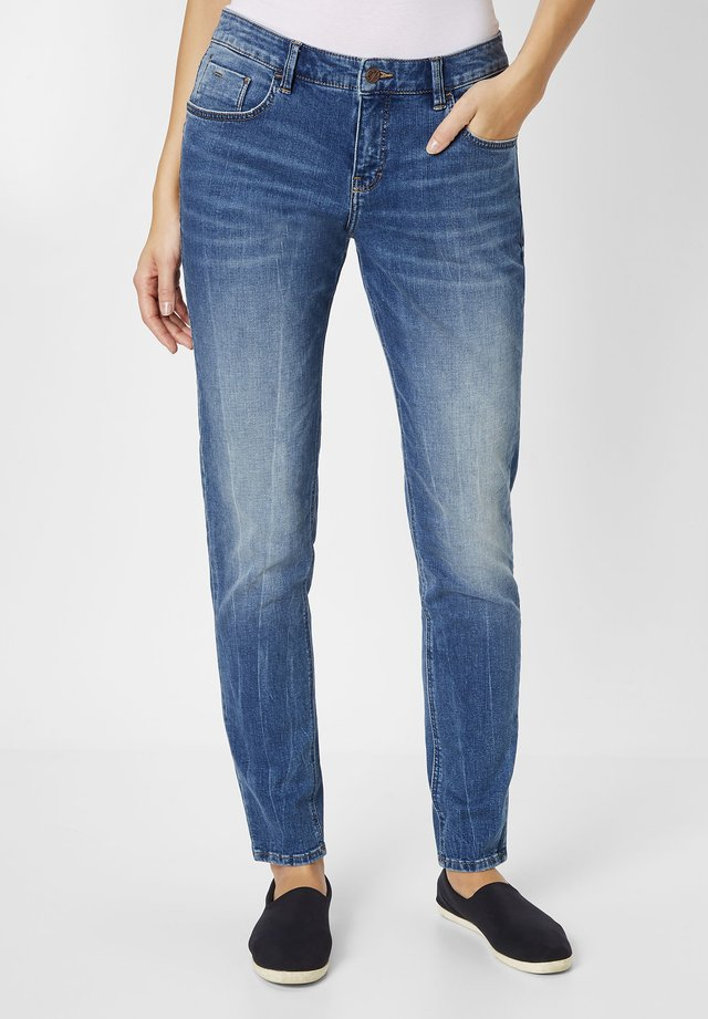 Straight leg jeans - mid blue stone washed