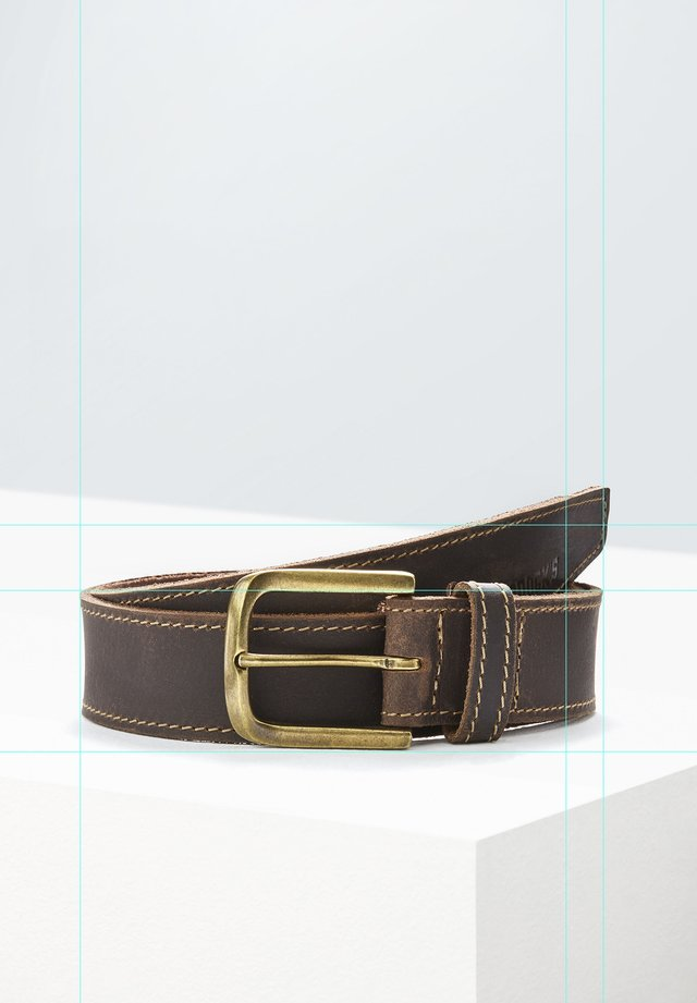 MIT KONTRASTFARBIGEN ZIERNÄHTEN - Belt - dark brown