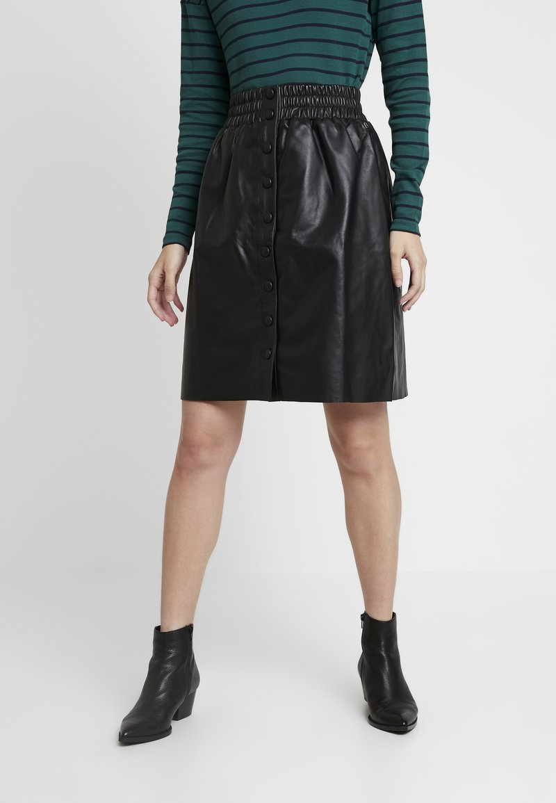 Pepe Jeans - MARIE - Leather skirt - black