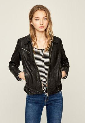 MINA - Veste en cuir - black
