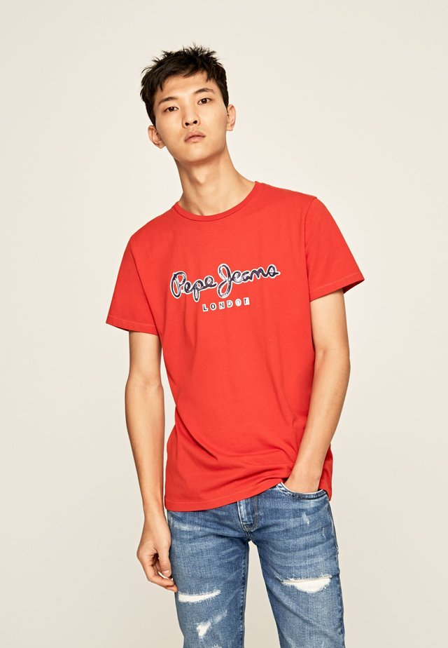 MERTON - Camiseta estampada - ziegelrot