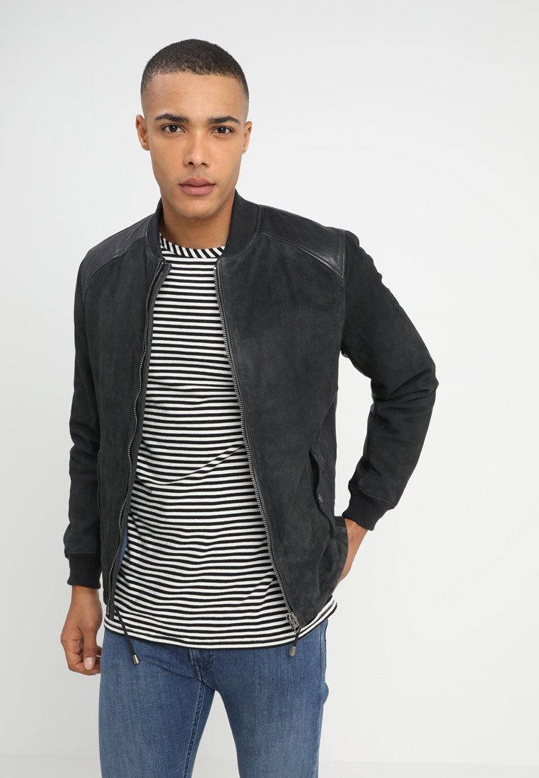 Pepe Jeans - CROSBY - Leather jacket - deep sea