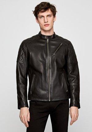 ELISEOS - Veste en cuir - black