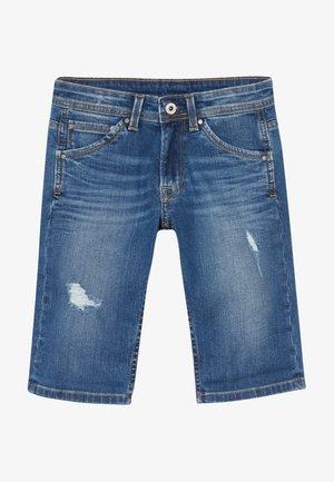CASHED - Denim shorts - blue