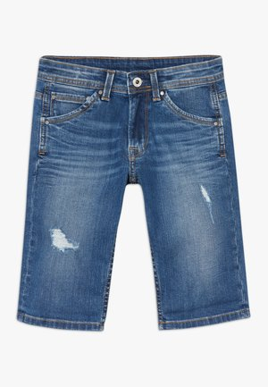 CASHED - Denim shorts - blue