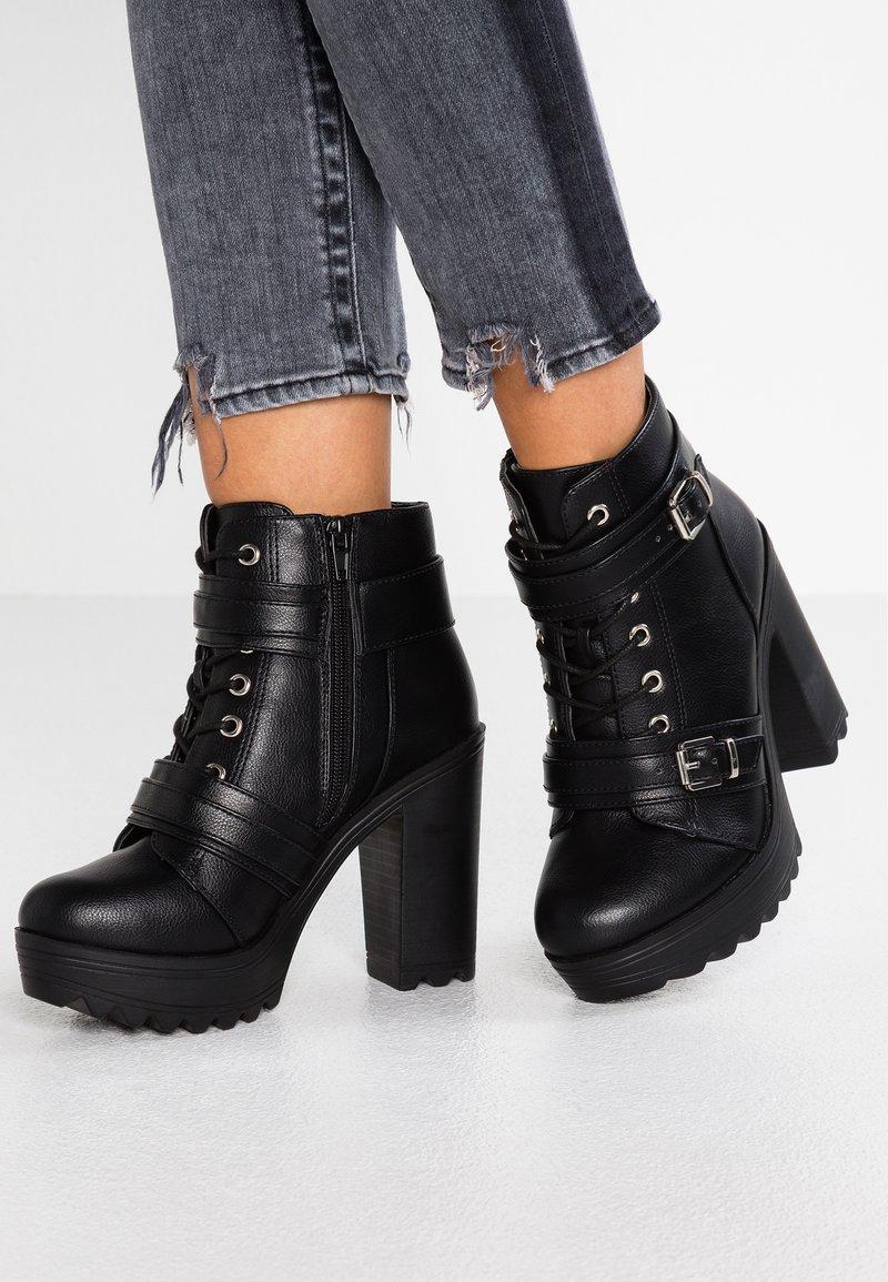 Pieces - PSDEENA - Kotníková obuv na vysokém podpatku - black