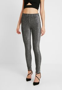 Pieces - Trousers - black/silver - 0